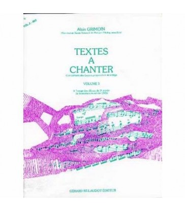 Textes à chanter - volume 3